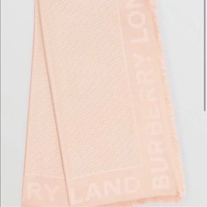 Monogram Jacquard Silk & Wool Scarf BURBERRY